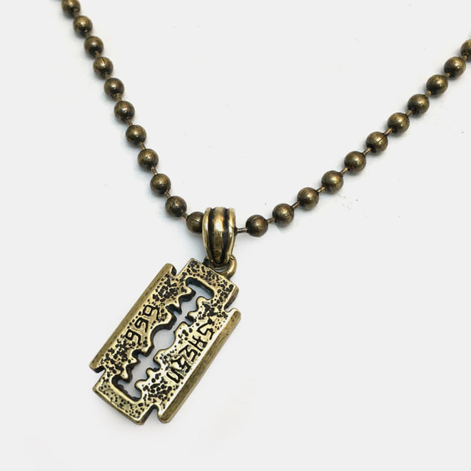 [세트 할인] Brass Ball Chain Necklace with Razor Blade Pendant