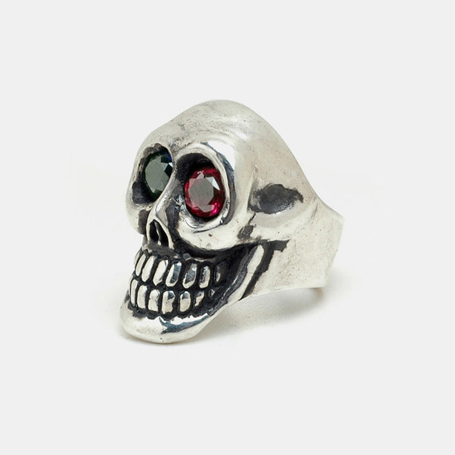 Smile Skull Silver Ring with synthetic Stones
