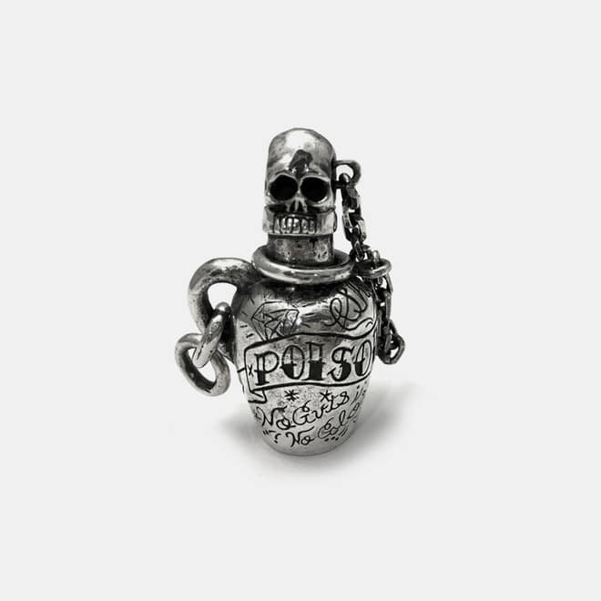 Poison Bottle Silver KeyChain