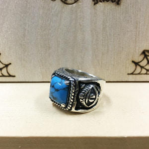 Crazy Cat Turquoise Silver Ring 15호
