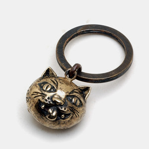 Crazy Cat Brass Key Chain