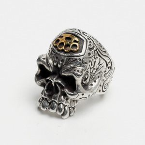 Graffiti Big Skull Ring with Brass