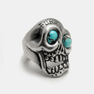 Forsaken Skull Ring With Turkey Stone