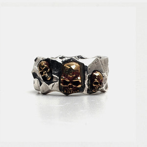 Three Skull Cutting Rings with 14K Gold