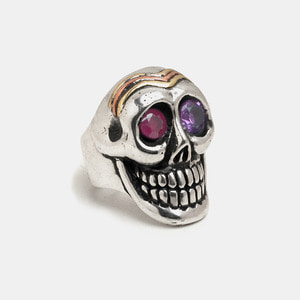 Smile Skull Silver Ring with Ruby & Amethyst set
