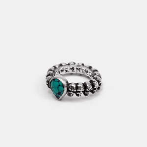 Small Skull Complex Ring w/Turquoise