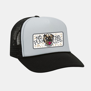 [예약할인] No Pug No Life Patch Mesh Trucker Cap by OTTO Cap black/white