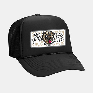 [예약할인] No Pug No Life Patch Mesh Trucker Cap by OTTO Cap black/black