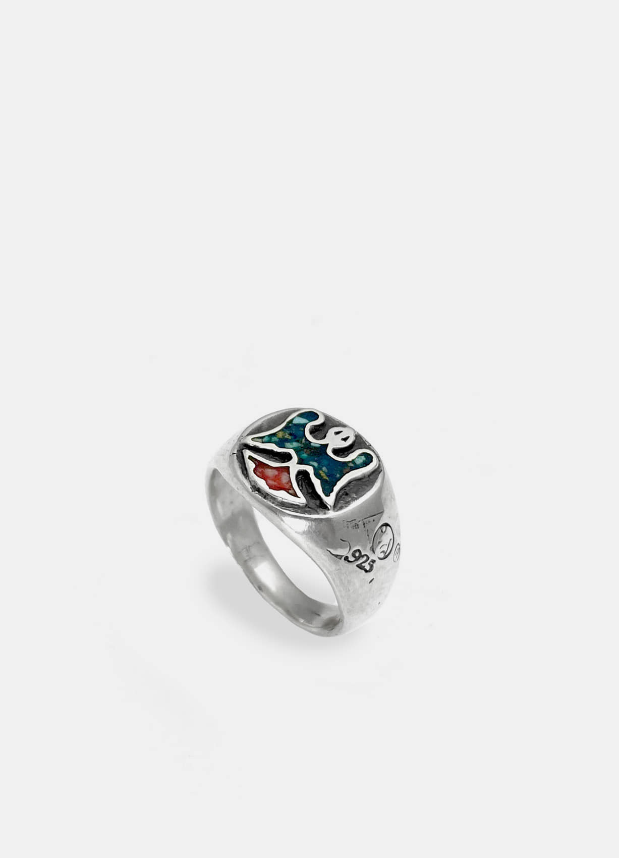 Firebird Inlay Silver Ring Small
