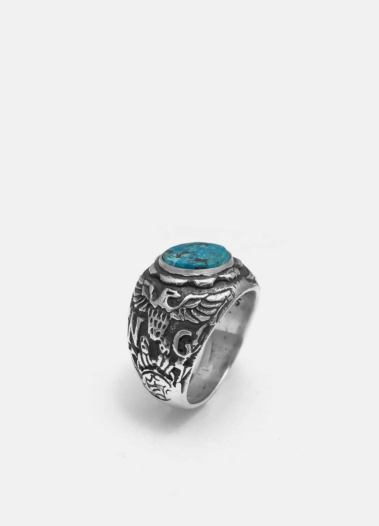 Eagle Crest Silver Ring w/Turquoise