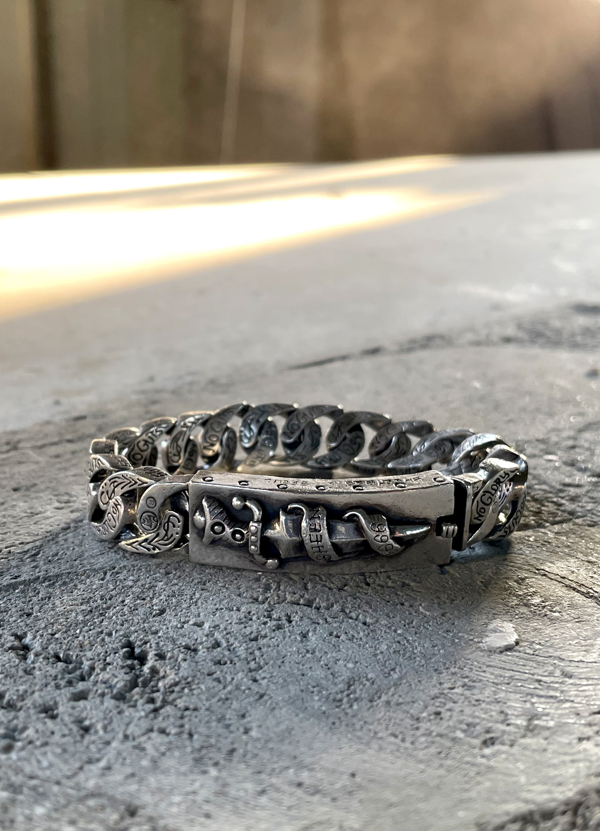 ORIGINAL DAGGER FULL SILVER CHAIN MIXED BRACELET 21cm STOCK