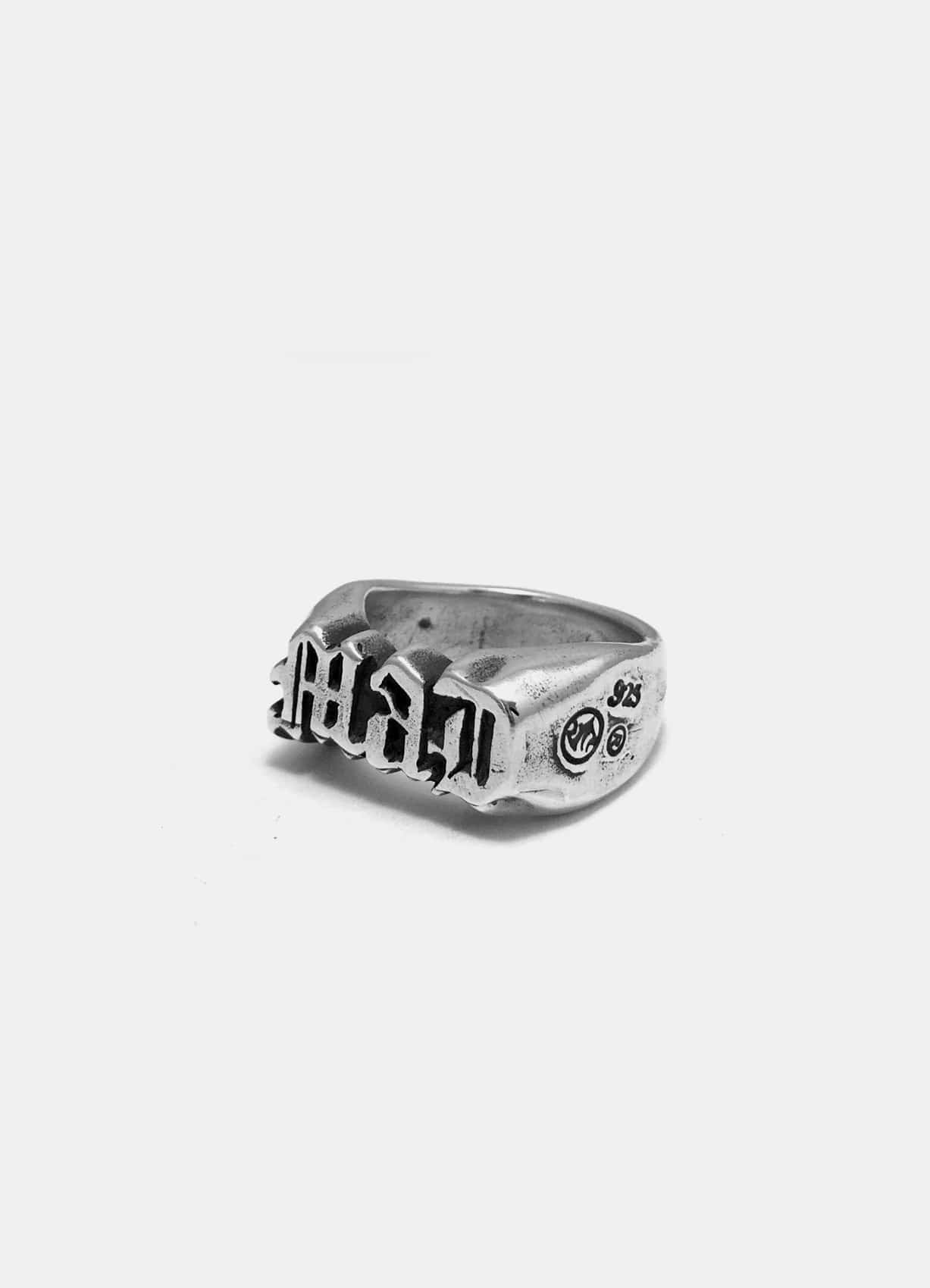 Mad Script Silver Ring