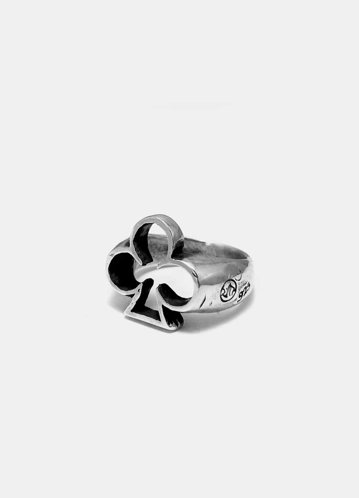 Playing Card Suit Silver Ring Clover MID Size
