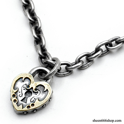 Lock Pendant with O ring small Silver Necklace