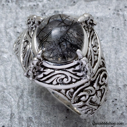 Bird Claw Ring Black Rutile Quartz