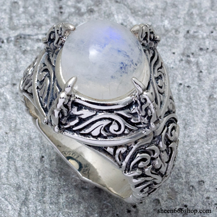 Bird Claw Ring Rainbow Moon Stone