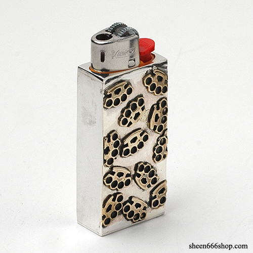 Brass Kuckle Pattern BIC Silver Lighter Case