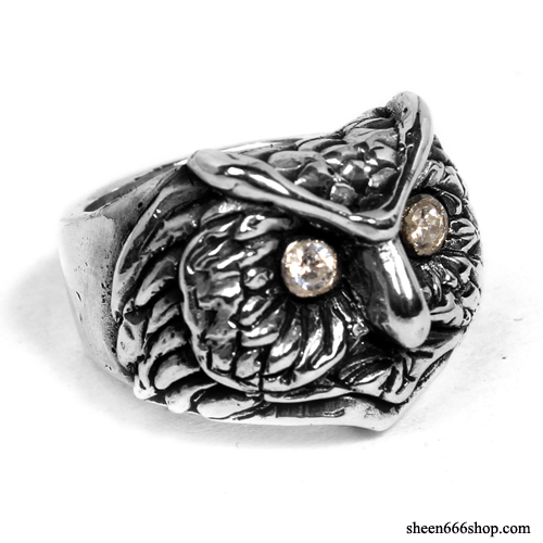 Custom Owl Silver Ring with Cubic