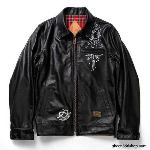 Dagger Print Leather Jacket