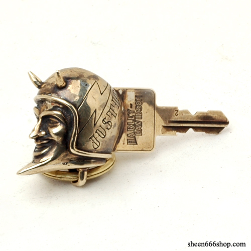 Custom Rockin Head biker key brass