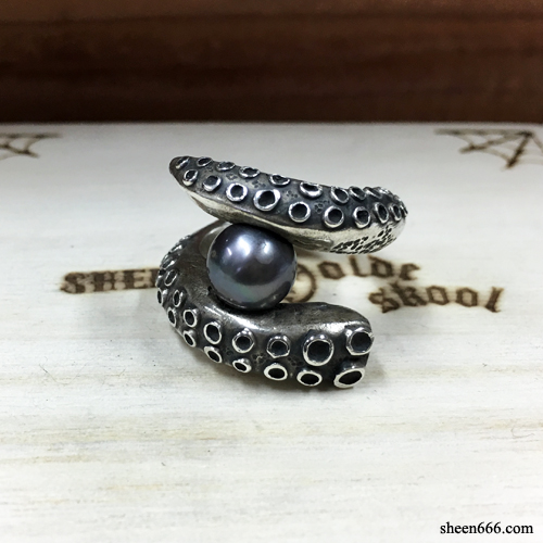 [STOCK -40%] Octopus black Pearl Ring 15호