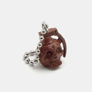 Grenade Skull Resin KeyChain_Dark Brown