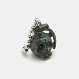 Grenade Skull Resin KeyChain_Dark Green